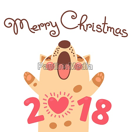 merry christmas 2018 card with dog