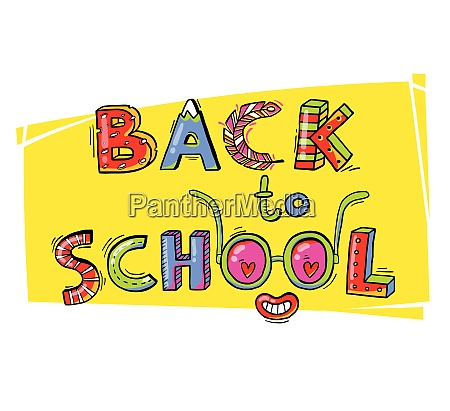 back to school hand drawn words
