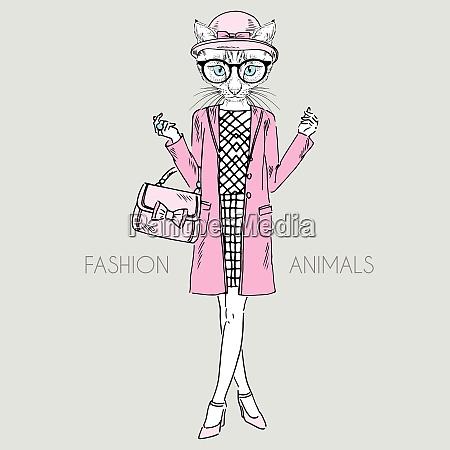 anthropomorphic design fashion illustration of cat