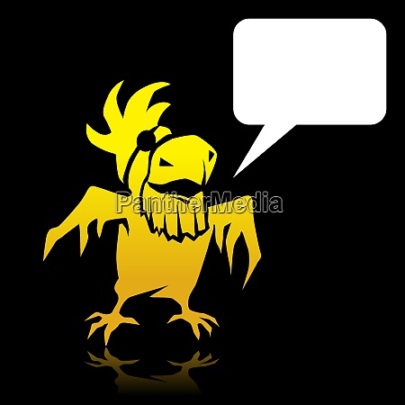 angry cartoon yellow parrot pirate with