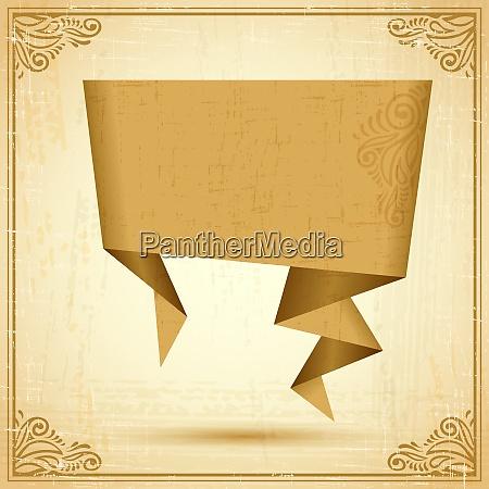 retro origami speech bubble vector background