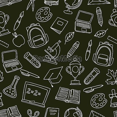 school seamless pattern with hand drawn