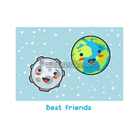 best friends kawaii space funny card