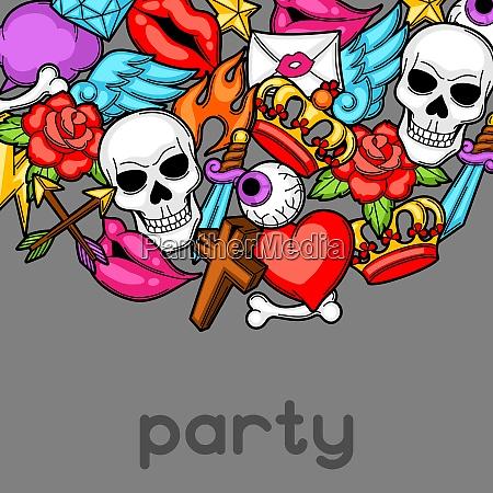 party invitation with retro tattoo symbols