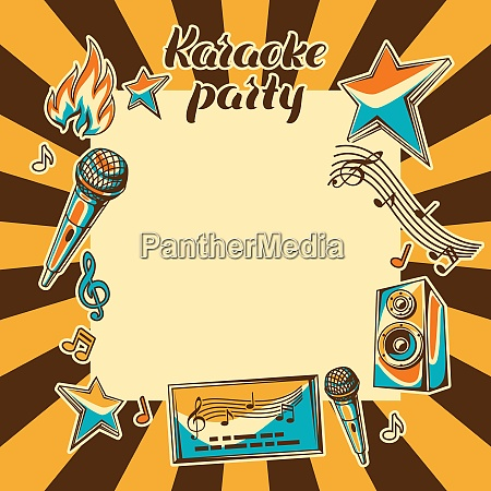 karaoke party card music event background