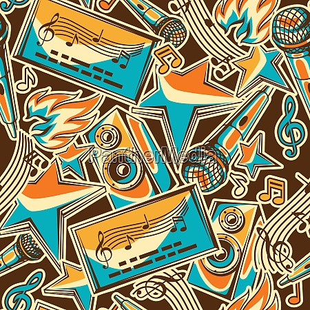 karaoke party seamless pattern music event