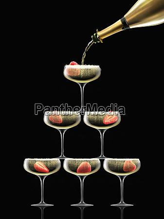 guld champagne flaskepafyldning coupe briller i