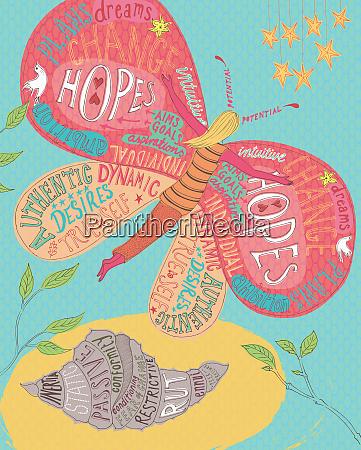 ung kvinde omdanne til sommerfugl