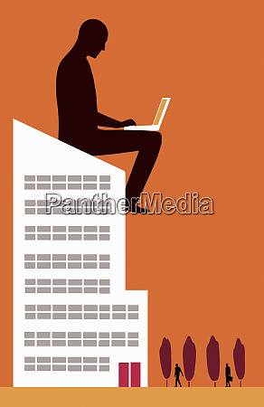 large businessman working with laptop on