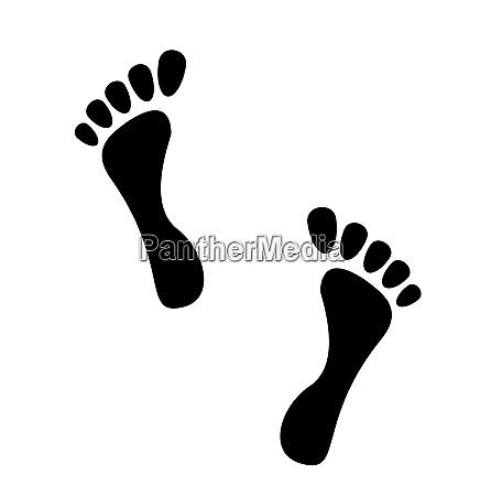 illustration black human footprints isolated on