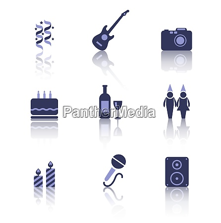 illustration set party icons of holiday