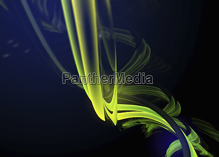 abstract bright green twisted flowing shapes