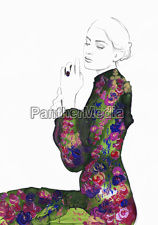 fashion illustration of contemplative young woman