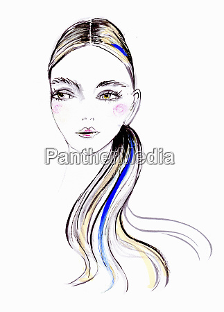 fashion illustration of young woman with