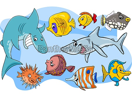fisk marine dyr tegneseriefigurer gruppe
