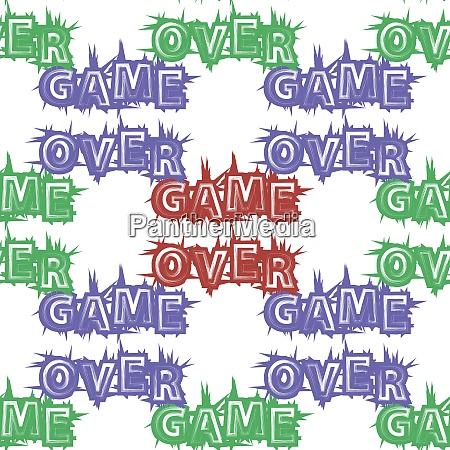 red blue green game over sign