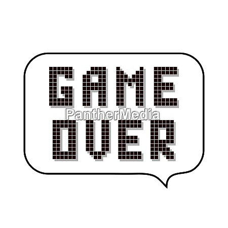 retro pixel game over sign with