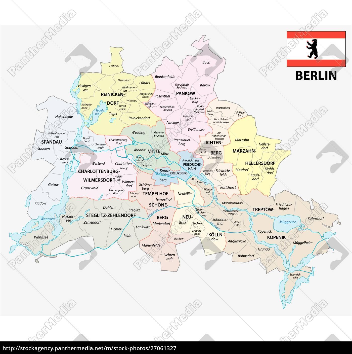 Berlin Administrativt Og Politisk Kort Med Flag Royalty Free