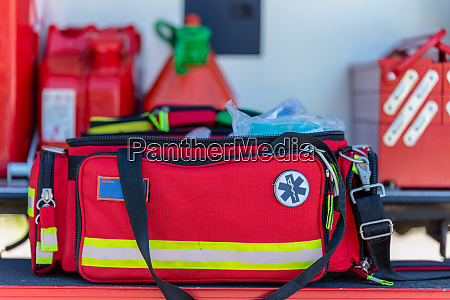 first aid kit an open