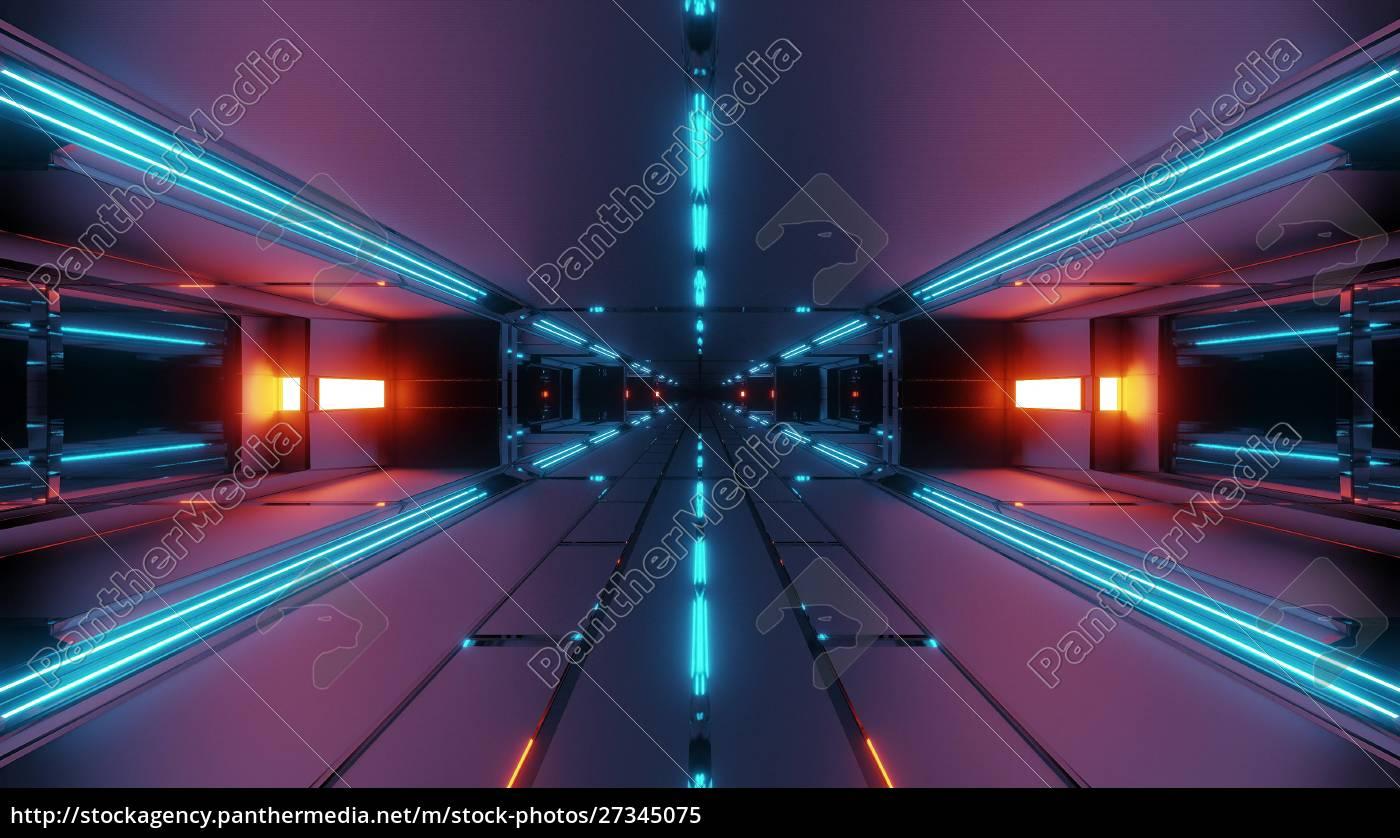 mørk, futuristisk, rumtunnelkorridor, 3d, rendering, tapet - 27345075
