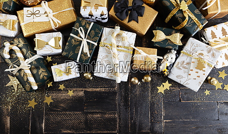 festive gift wrapped presents