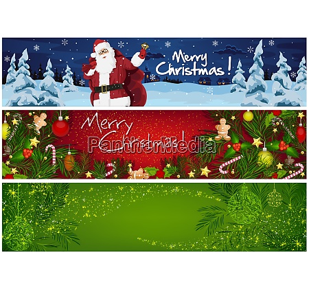 collection of three christmas banners