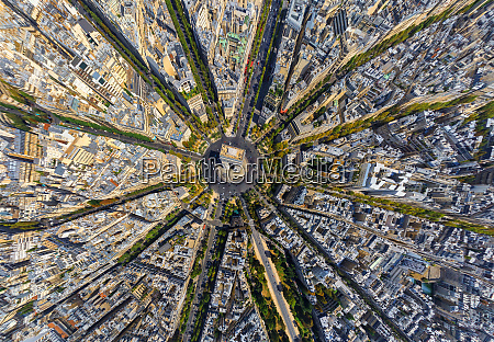 luftfoto, over, triumfbuen, paris, frankrig. - 27448352
