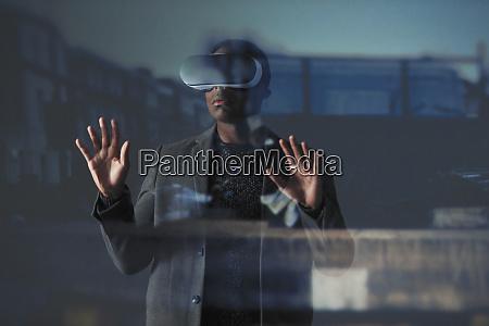 double, exposure, businessman, using, virtual, reality - 27457211