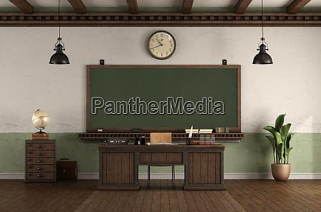 retro stil tomt klassevaerelse med laererens