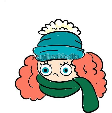 en, pige, iført, en, appelsin, vinter, hat, vector, eller, farve - 27498270