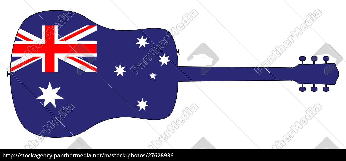 acoustic, guitar, silhouette, with, australian, national - 27628936