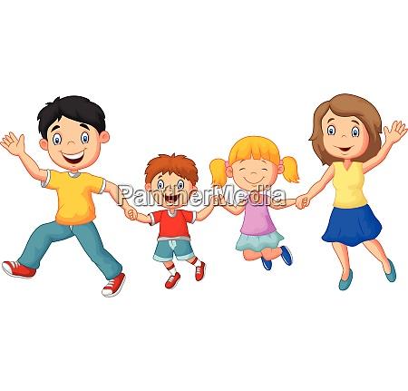 tegneserie glad familie vinker haender