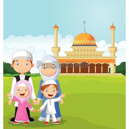 tegneserie glad muslimsk familie