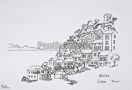 hilltop village of nonza corsica france