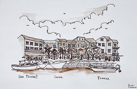 waterfront port saint florent corsica france