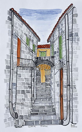 narrow streets with 16th century granite