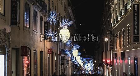 gadeatmosfære, i, lissabon, om, natten, dekoreret - 27959750