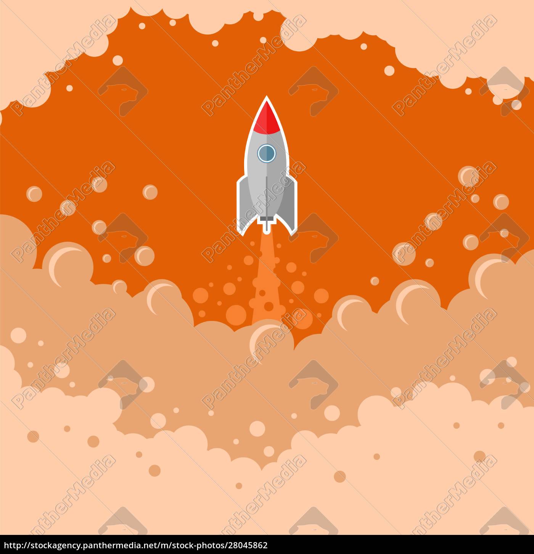 rumraket, flyver, på, rød, boblehimmel, baggrund - 28045862