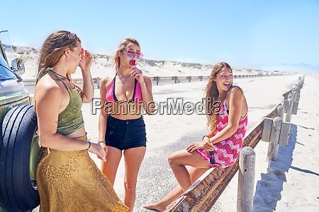 unge kvinder venner slapper af pa