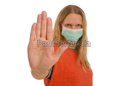 kvinde, med, mundbeskyttelse, og, maske - 28232135