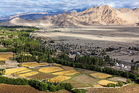 view of indus valley in himalayas