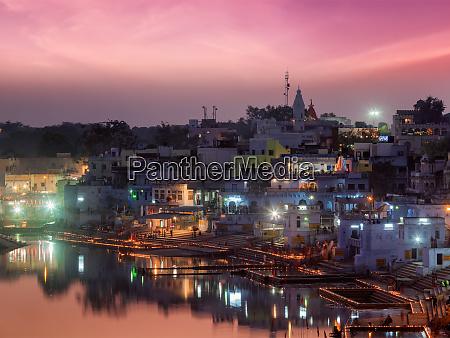 sacred puskhar lake and ghats of