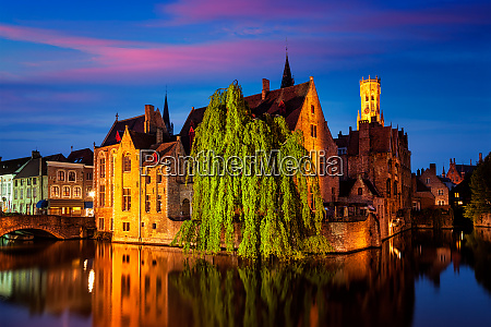 famous view of bruges belgium