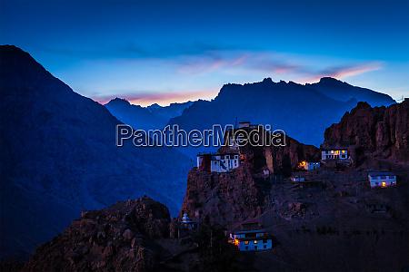 dhankar, gompa, i, tusmørke - 28468326