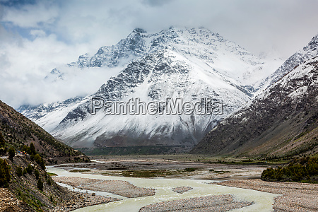lahaul valley in himalayas with snowcappeped