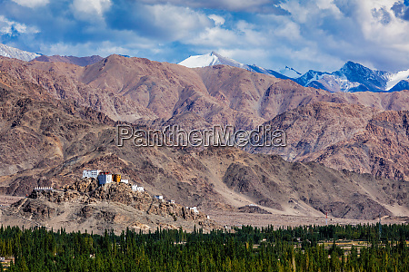 thiksey gompa buddhist monastery in himalayas