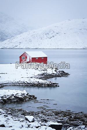 red rorbu house in winter lofoten