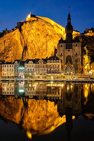 night view of dinant town belgium