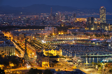 aerial view of barcelona city and