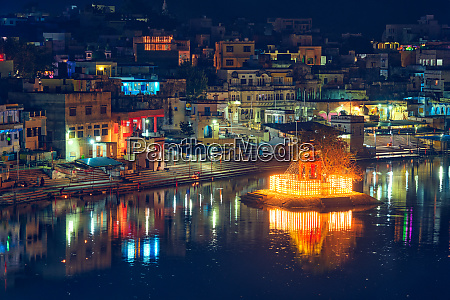 view of indian pilgrimage sacred city